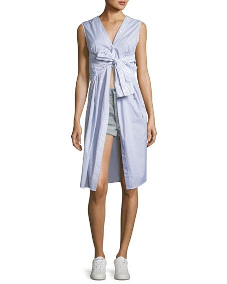 Sleeveless Tie-Front Striped Shirting Midi Dress