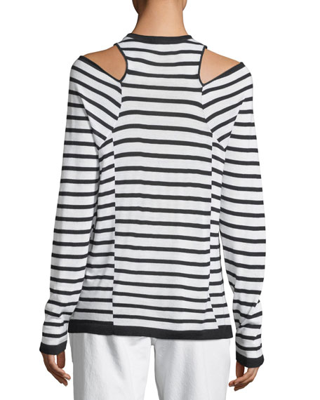 Wash & Go Crewneck Cutout-Shoulder Long-Sleeve Striped Top