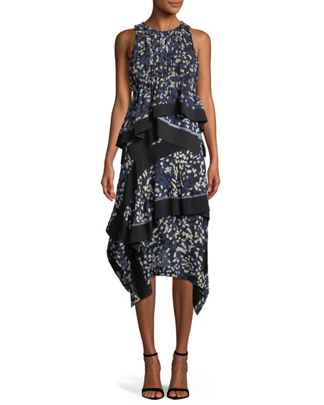 Layered Painted-Dot Silk Midi Skirt w/ Rib Details