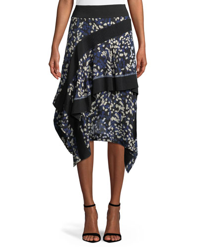 Layered Painted-Dot Silk Midi Skirt w/ Rib Details