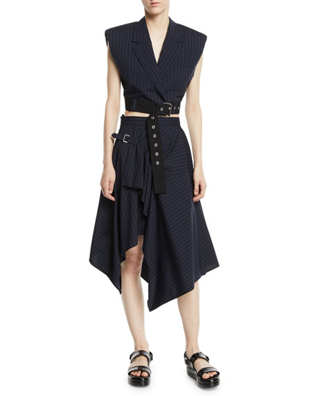 Tailored Pinstripe Handkerchief Skirt