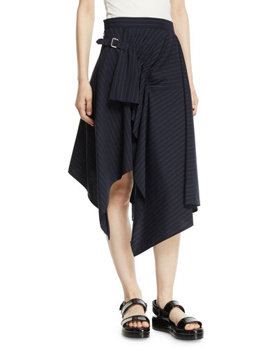 Tailored Pinstripe Handkerchief Skirt