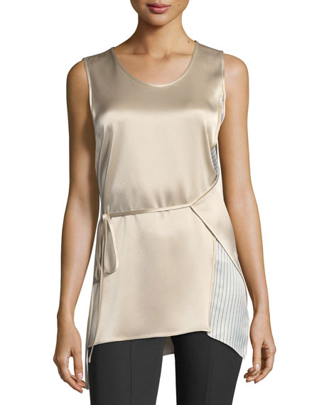 Sleeveless Heavy Drape Satin Wrap Top w/ Striped Combo