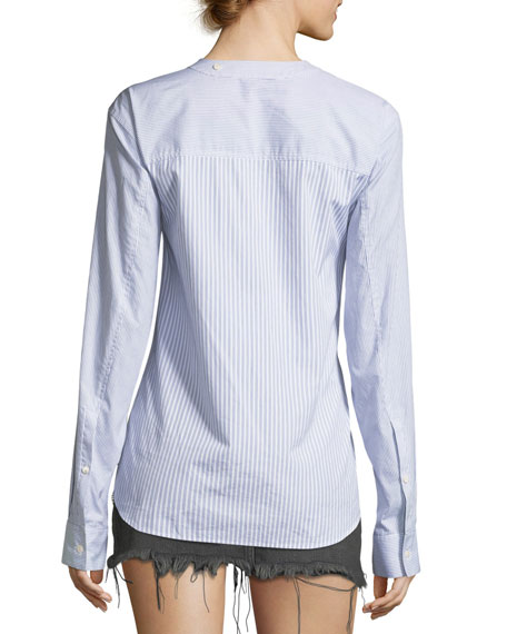 Tie-Front Long-Sleeve Combo Striped Shirt