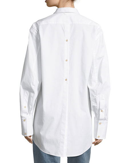 Marion Button-Front Poplin Shirt with Back-Button Detail