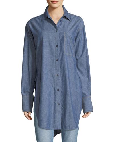Ryder Button-Down Long-Sleeve Chambray Shirt