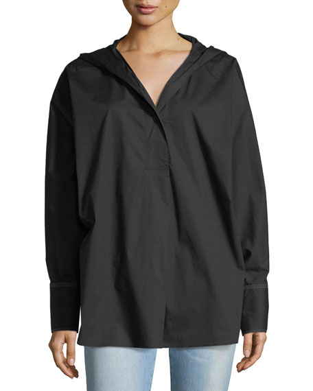 Carson Long-Sleeve Hooded Poplin Shirt