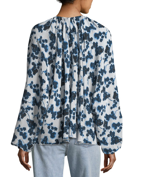 Lucia P. Long-Sleeve Floral-Print Silk Top