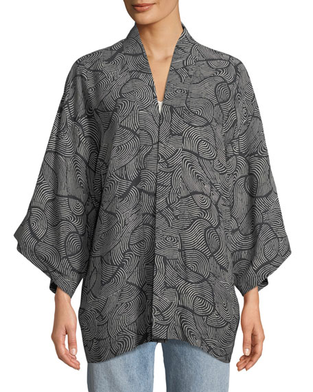 Drew Open-Front Swirl-Print Kimono