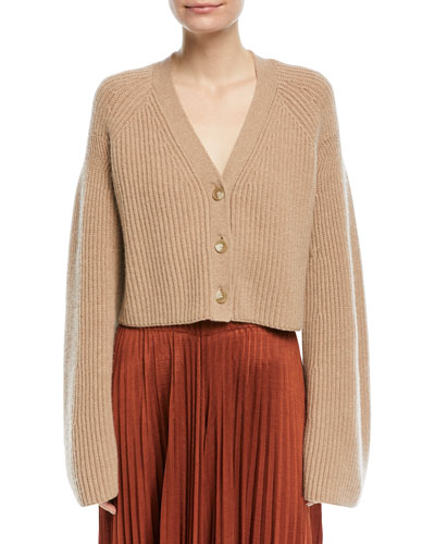 Cabot Button-Front Bell-Sleeve Cashmere Cardigan