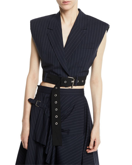 3.1 Phillip Lim Cropped Pinstripe Vest with Sculpted