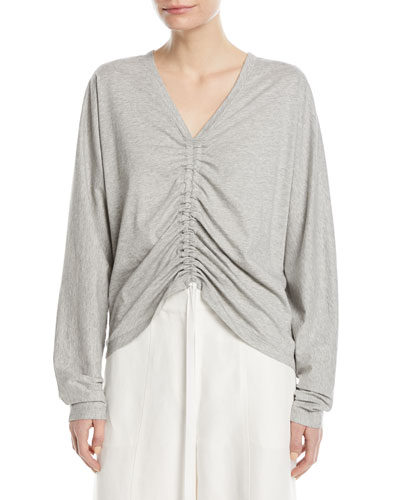 V-Neck Ruched-Front Cotton Tee
