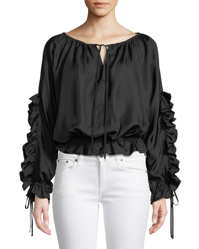 Long-Sleeve Silk Ruffle Blouse