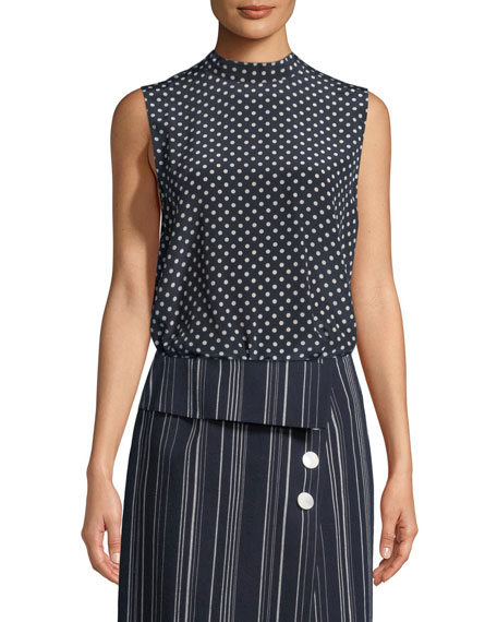 Sleeveless Open-Back Polka-Dot Blouse