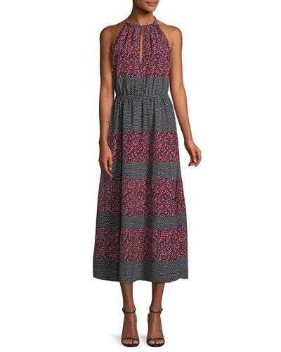 Sleeveless Halter Mixed-Print Midi Dress