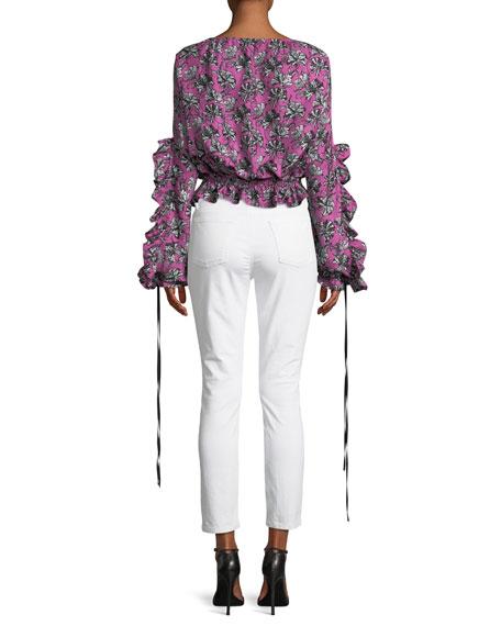 Orchid-Print Ruffle Long-Sleeve Silk Blouse