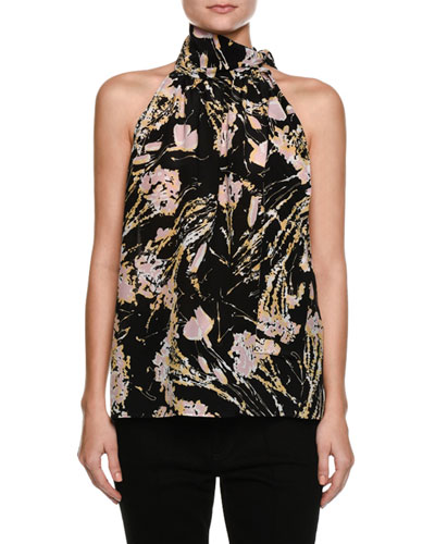 Multicolored Printed Sleeveless Silk Blouse