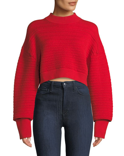 Faux-Plaited Silk-Blend Cropped Pullover Sweater