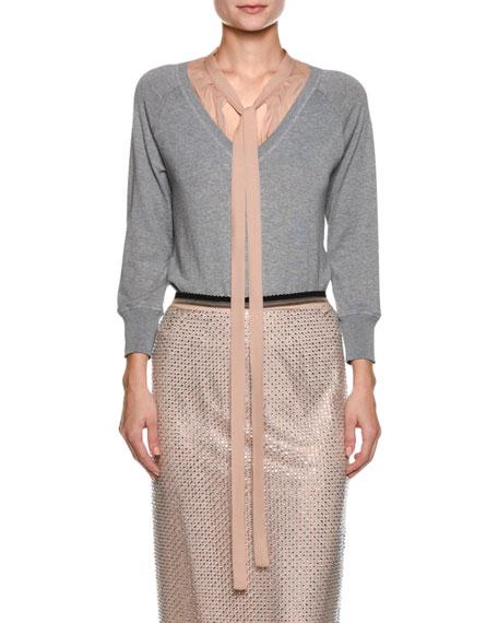 Sweater with Contrast Necktie
