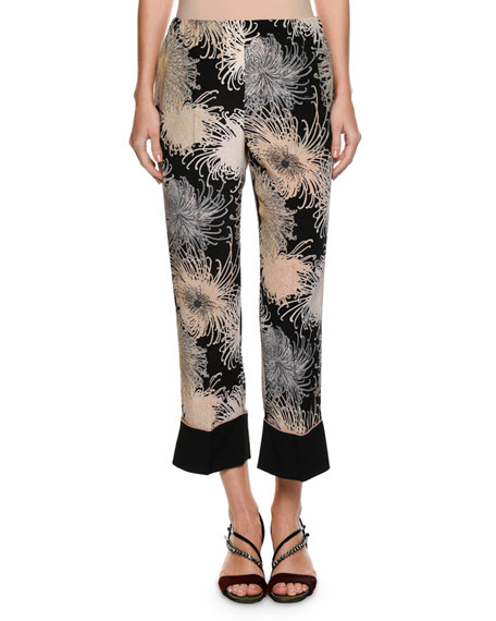 Printed Straight-Leg Silk-Blend Pants