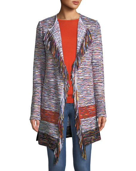 Multi-Tweed Waterfall Cardigan w/ Fringe Trim