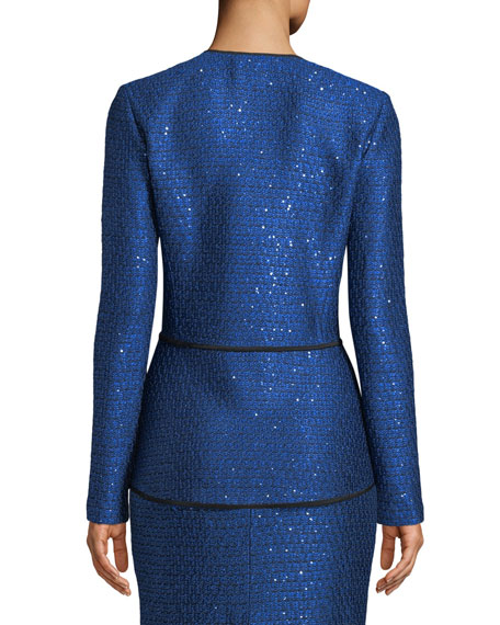 Luster Sequined Knit Peplum Jacket