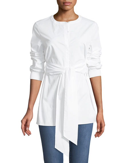 Cotton Stretch Poplin Button-Down Blouse