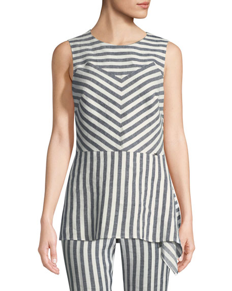 Stretch-Linen Multi-Stripe Twill Asymmetric Shell