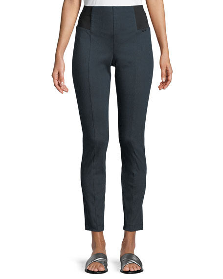 Stretch Cotton Trouser Leggings in Navy
