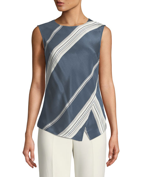Sleeveless Satin Striped Shell