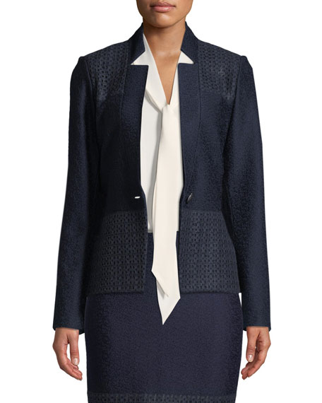Caris Knit Lace-Trim Jacket