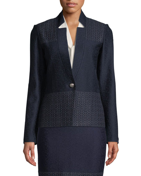 St. John Collection Caris Knit Lace-Trim Jacket