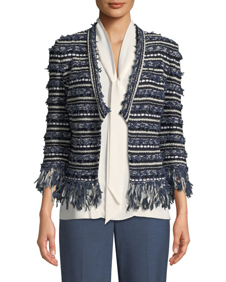 St. John Collection Lofty Floats Knit 3/4-Sleeve Jacket