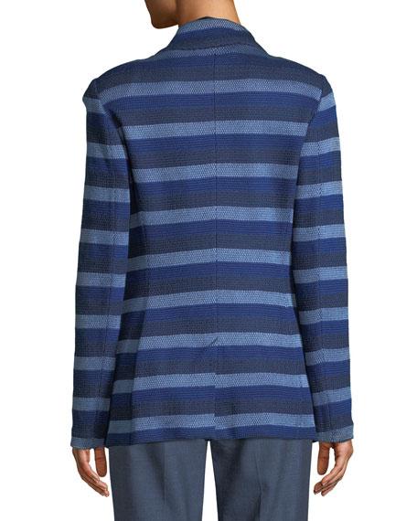 Held Stitch Overlay Striped Knit Jacket
