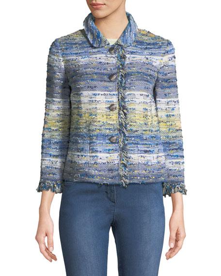 Chelsea 3/4-Sleeve Tweed Knit Jacket