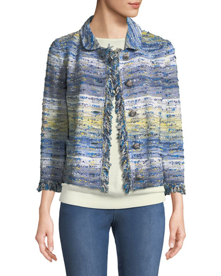 St. John Collection Chelsea 3/4-Sleeve Tweed Knit Jacket