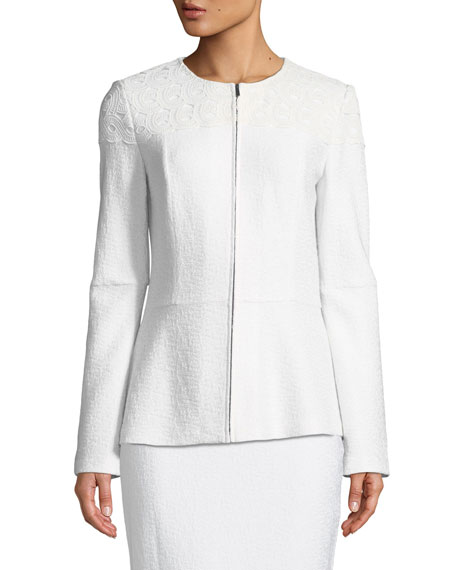 Caris Knit Jewel-Neck Jacket