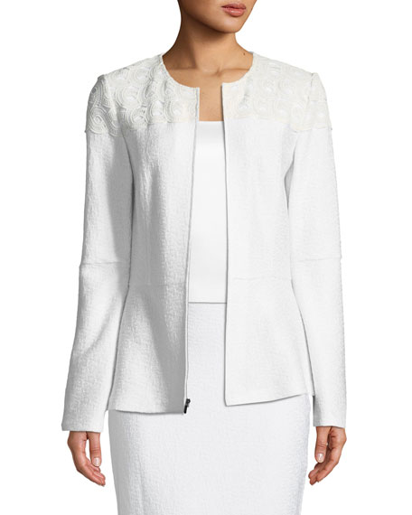 St. John Collection Caris Knit Jewel-Neck Jacket