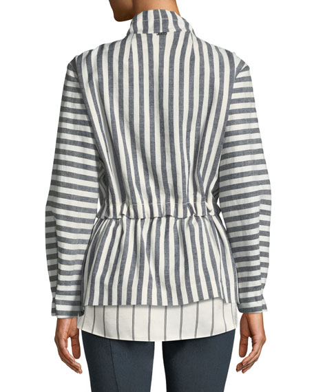 Stretch-Linen Stripe Twill Drawstring Jacket