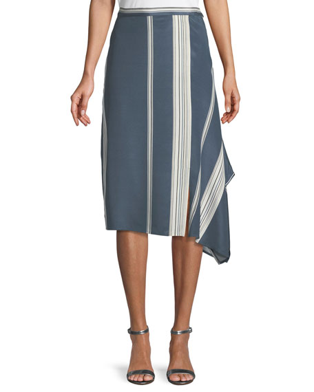Satin Striped Faux-Wrap Skirt
