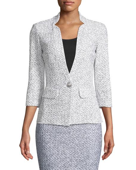 Olivia Boucle Knit 3/4-Sleeve Blazer