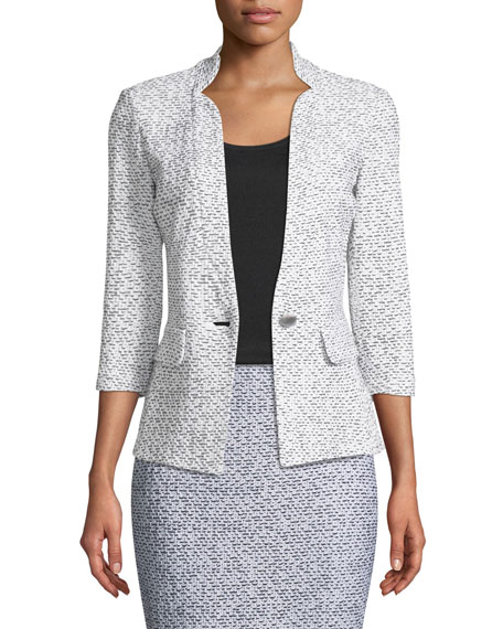 St. John Collection Olivia Boucle Knit 3/4-Sleeve Blazer