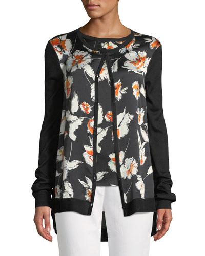 Jersey Knit Cardigan w/ Floral-Print Silk Front