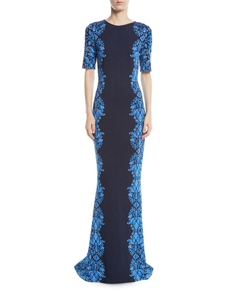 St. John Collection Brocade-Graphic Half-Sleeve Knit Gown