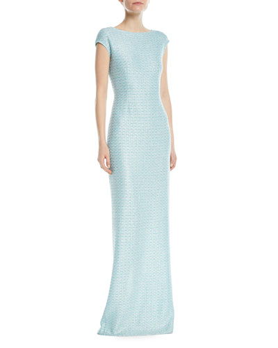 Glitter Sequin Knit Cap-Sleeve Gown