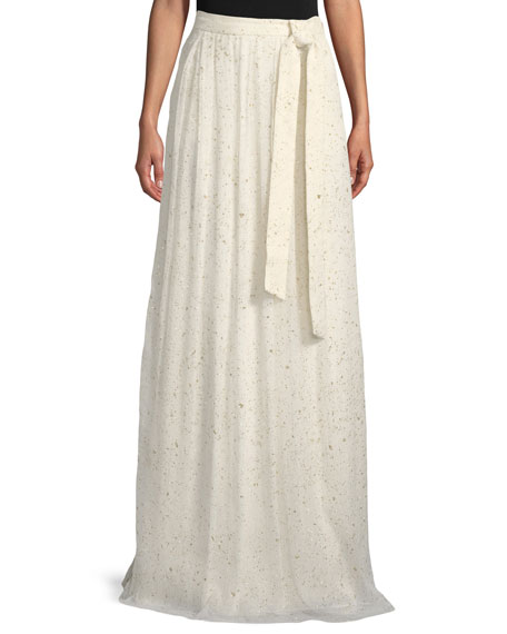 St. John Collection Flocked Glitter Crinkle Chiffon Floor-Length