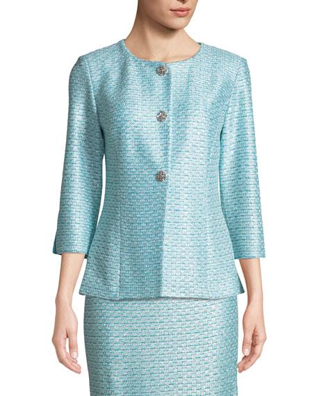 Glitter Sequin Knit 3/4-Sleeve Jacket