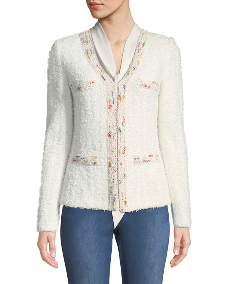 Flagged Textural Knit Blazer