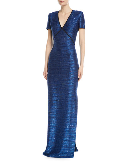 St. John Collection Luster Sequin V-Neck Evening Gown