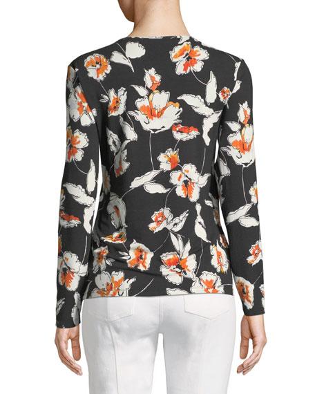 Modern Floral Jersey V-Neck Long-Sleeve Tee